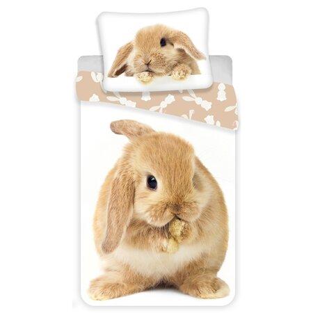 Jerry Fabrics Dětské bavlněné povlečení Bunny brown, 140 x 200 cm, 70 x 90 cm