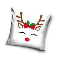 Vidám rénszarvas karácsonyi párnahuzat, 40 x 40 cm