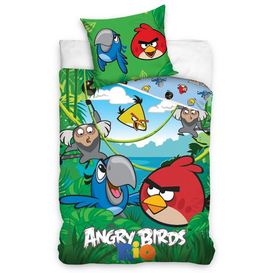 Tip Trade Bavlněné povlečení Angry Birds Jungle, 140 x 200 cm, 70 x 80 cm