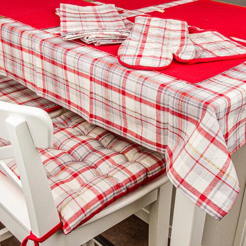 Nakrycie stołu Krata ciemnoczerwono-beżowy, 33 x 45 cm, zestaw 4 szt.