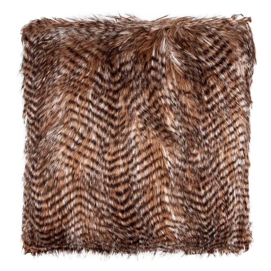 Polštářek žíhaný hnědá, 45 x 45 cm