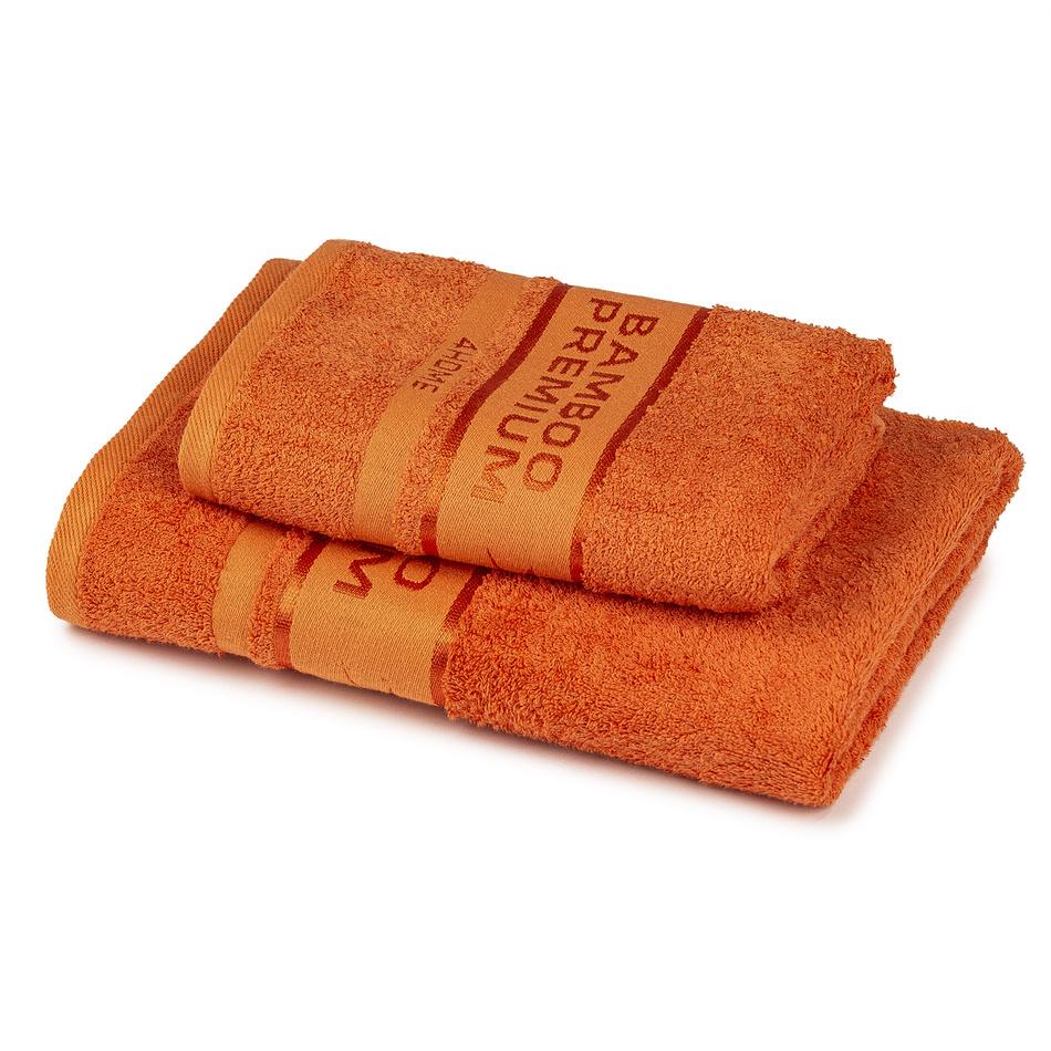 Fotografie 4Home Sada Bamboo Premium osuška a ručník oranžová, 70 x 140 cm, 50 x 100 cm