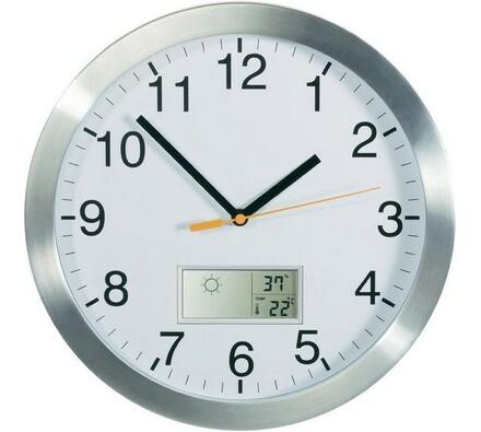 Nástěnné DCF hodiny s předpovědí počasí, bílá, pr. 30 cm