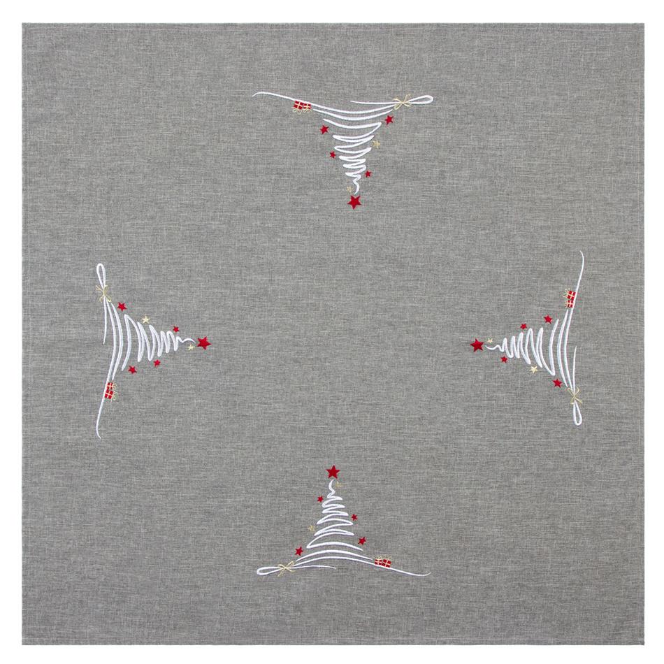 BO-MA Trading Ubrus Vánoční stromek šedá, 85 x 85 cm