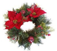 Vánoční věnec s vánoční hvězdou, 27 cm