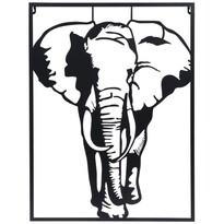 Koopman Závěsná kovová dekorace Slon bílá, 30 x 40 cm