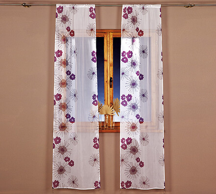 Voálové závěsy, fialová, 70 x 250 cm