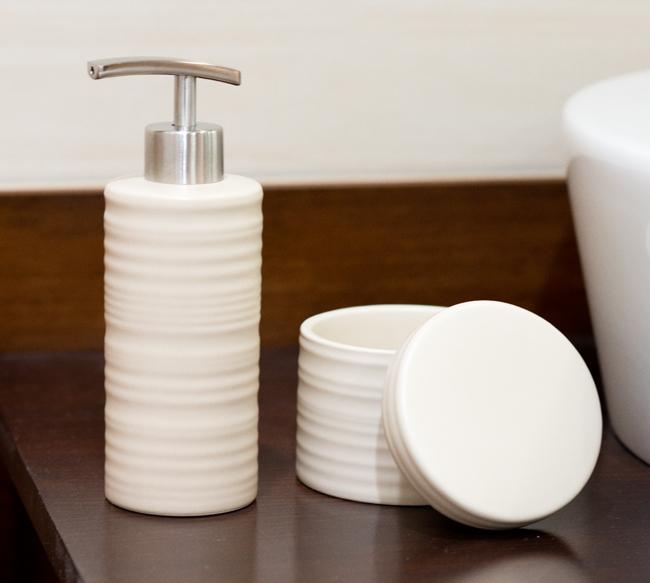 Sada dávkovač mýdla + dóza béžová