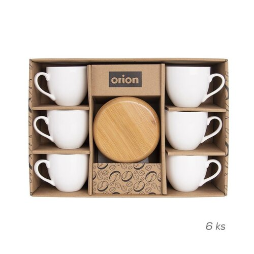 Orion Darčeková sada porcelánových šálok s podšálkami Bambu, 6 ks