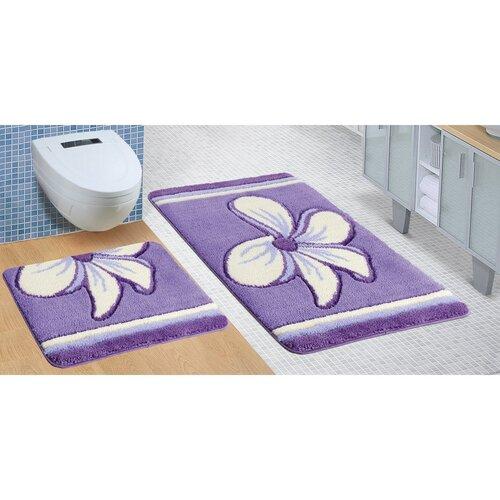 Sada kúpeľňových predložiek Ultra Kvet fialová, 60 x 100 cm, 60 x 50 cm