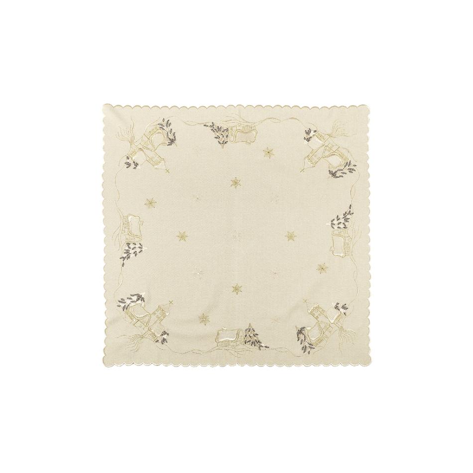 Forbyt Vianočný obrus chalúpky béžová, 35 x 35 cm