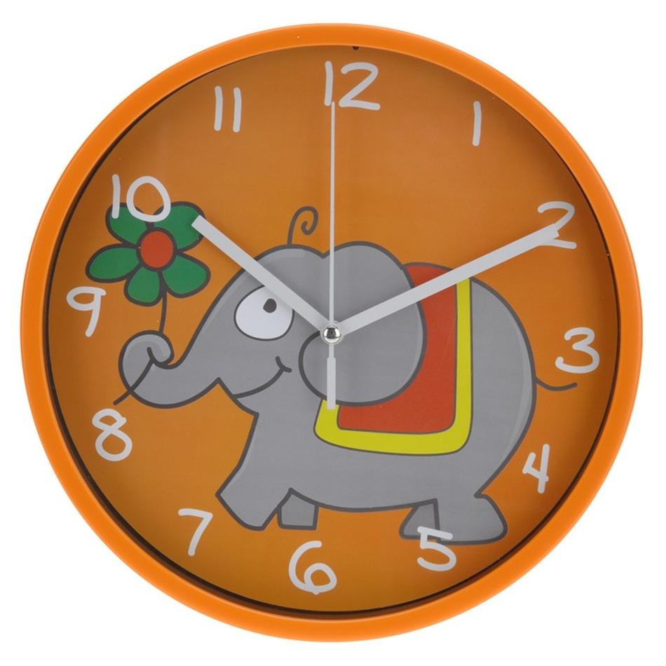 Nástěnné hodiny Elephant oranžová, 23 cm