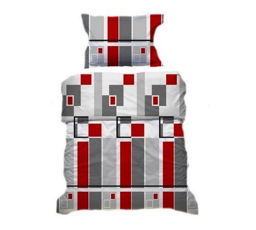 Prikrývka a vankúš červeno-šedá, 140 x 200 cm, 70 , biela + červená