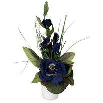 Aranžmá Ruže v kvetináči modrá, 50 cm