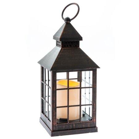 Lucerna s LED svíčkou na baterie Aube 10 x 23,5 cm, černá