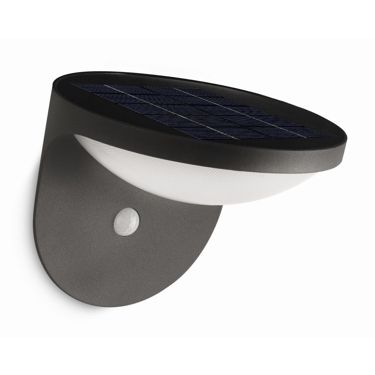 Philips 17808/93/16 Dusk Vonkajšie nástenné solárne LED svietidlo s čidlom 16 cm, antracit