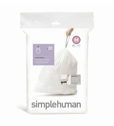 Vrecia do odpadkového koša 45 L, Simplehuman typ M, zaťahovacie, 20 ks v balení