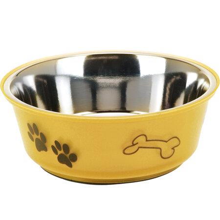 Etetőtál kutyáknak sárga, 900 ml