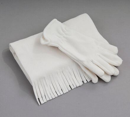 Set fleece rukavice a šála Karpet 5686/7, smetanov