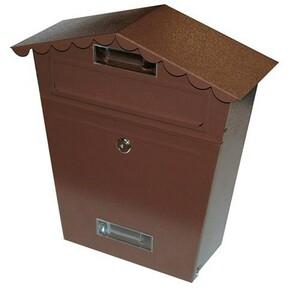 Poštovní schránka se stříškou, hnědá, 290 x 360 x 105 mm