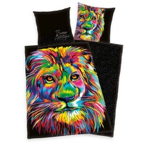 Saténové povlečení Bureau Artistique - Colored Lion, 140 x 200 cm, 70 x 90 cm