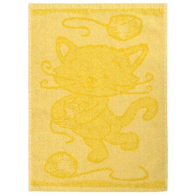Dětský ručník Cat yellow, 30 x 50 cm