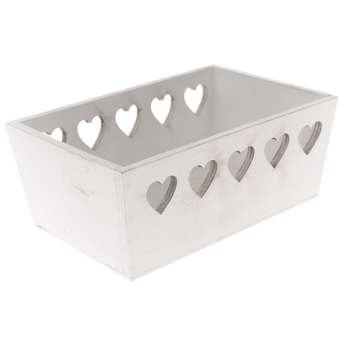 Dřevěná bedýnka Srdce 20 x 8 x 13 cm, bílá