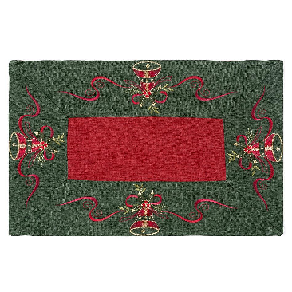 Forbyt Vánoční ubrus Zvonečky zelený lem, 30 x 45 cm