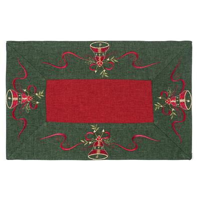 Vánoční ubrus Zvonečky zelený lem, 30 x 45 cm