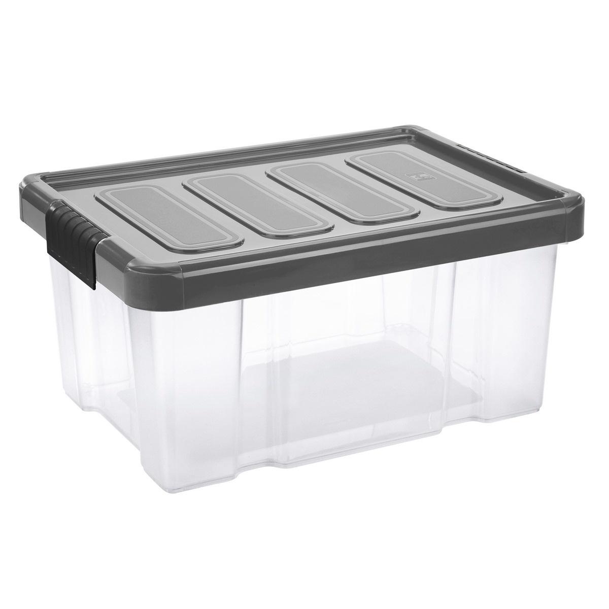 Tontarelli Úložný box s víkem Puzzle Clips 14 l, transparentní/šedá