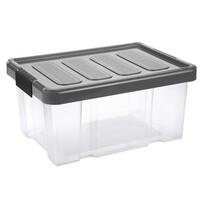 Tontarelli Úložný box s vekom Puzzle Clips 14 l, transparentná/sivá