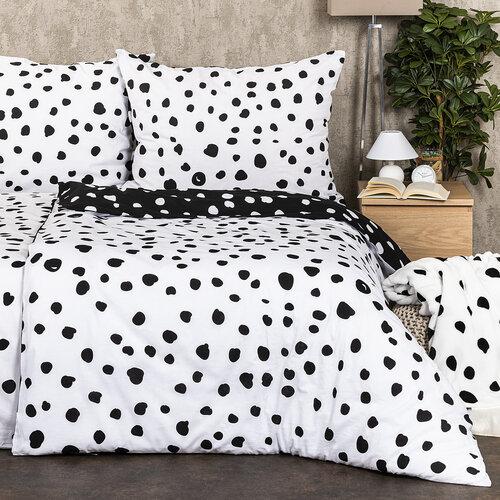 4Home Dalmata pamut ágyneműhuzat fekete fehér, 140 x 200 cm, 70 x 90 cm