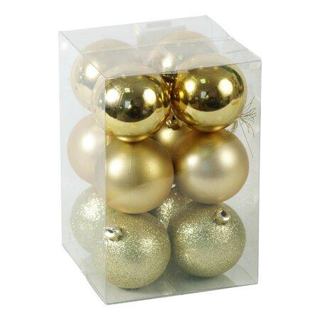 Plastové vianočné gule, zlaté, 12 ks, zlatá