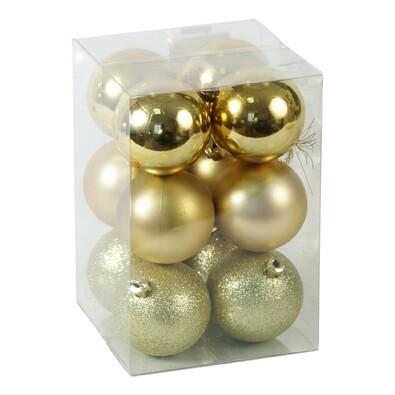 Plastové vánoční koule, zlaté, 12 ks, zlatá