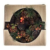 Věnec se šiškami, bobulemi a lotosem pr. 25 cm, červená