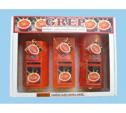 Dárková sada parafínových svíček grep, oranžová