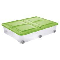 Tontarelli Cutie de depozitare cu capac Stockbox 61 l, transparentă/verde