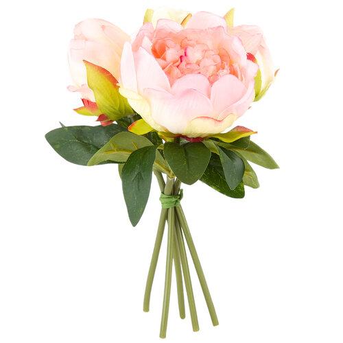 Mű pünkösdi rózsa csokor, világosrózsaszín, 24 cm