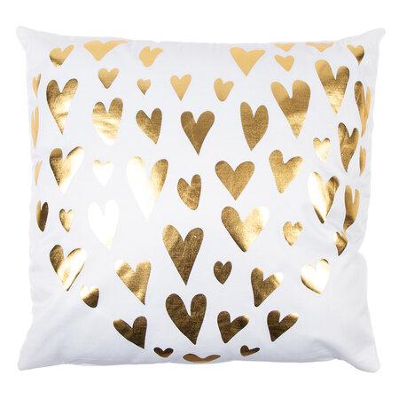 Pernuţă Gold De Lux Inimă, alb, 43 x 43 cm