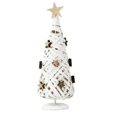 Proutěný vánoční stromeček bílá