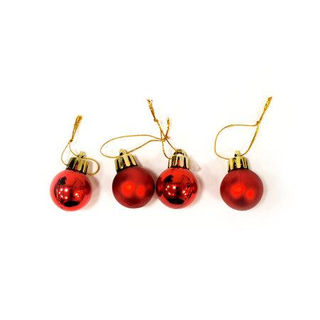 Vianočné gule pr. 2,5 cm červená, 24 ks