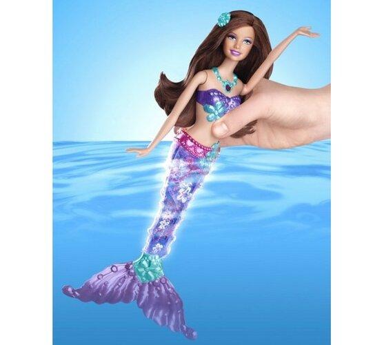 Barbie svietiaca morská panna Mattel, fialová, fialová