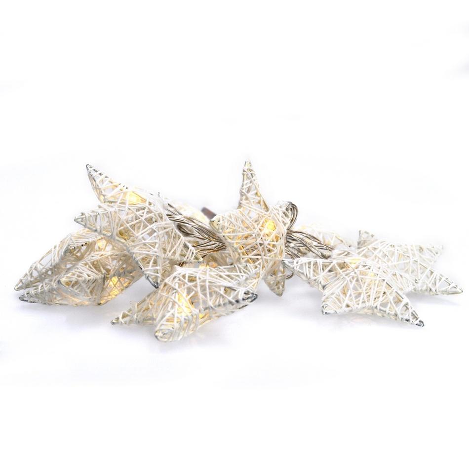 1V203 Solight LED řetěz vánoční hvězdy bílé proplétané, 10LED, 1m, 2x AA, IP20