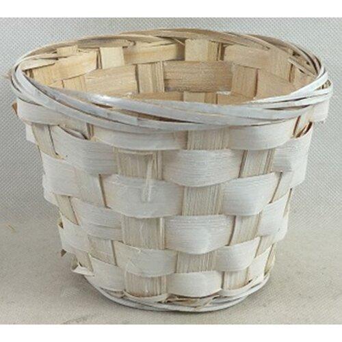 Bambusový obal na květináč bílá, pr. 14 cm