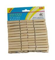 Kolíčky na prádlo dřevěné, 24 ks