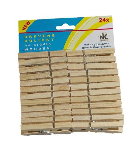 Štipce na bielizeň drevené, 24 ks