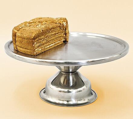Nerezový podnos na dort, pr. 34 cm, stříbrná, pr. 34 x 8,5 cm