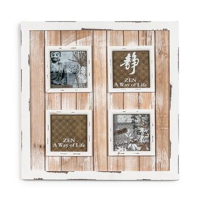 Dřevěný fotorámeček na 4 fotografie bílá