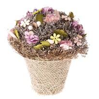 Leerdam virágtartó művirágokkal, 18 cm