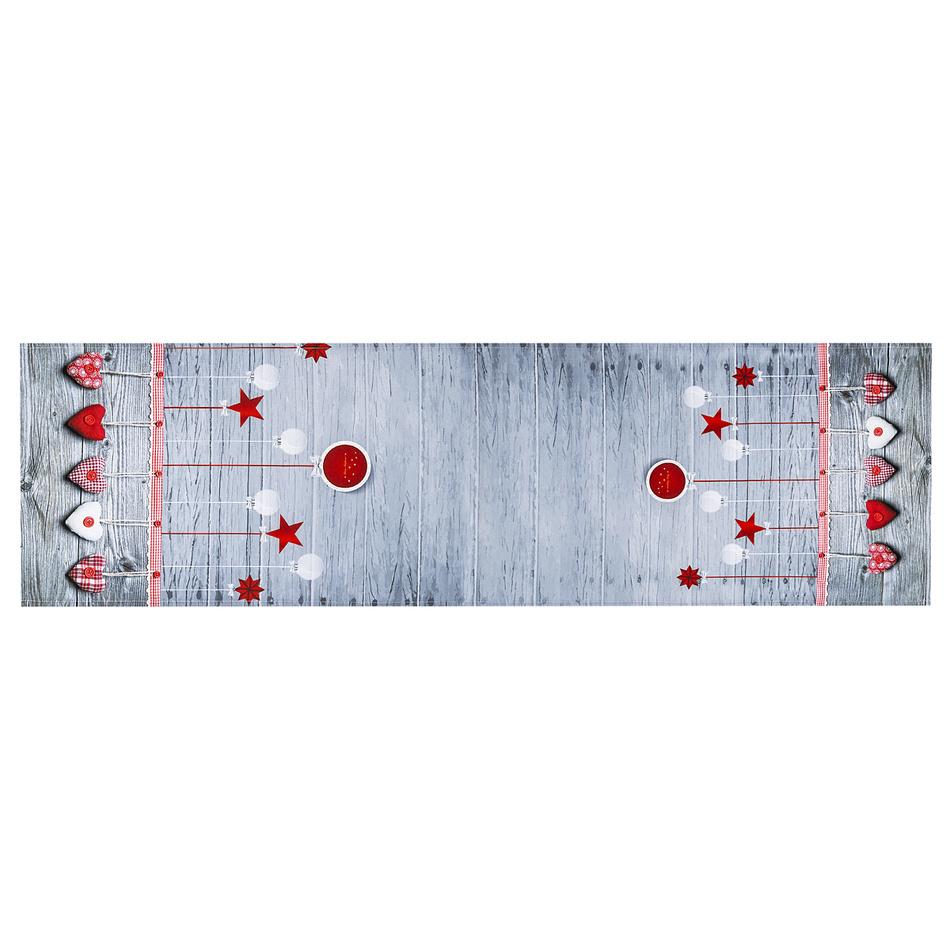 BO-MA Trading Vianočný behúň Ozdoby látkové, 40 x 140 cm